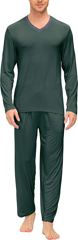 HAOHANYOUPIN Menx27;s Pyjamas Set V-Neck PJ Sets Super Soft Sleepwear Loungewear Nightwear for All Seasons Mens Pajama Pants (Color : Dark-Green, Size : XL)