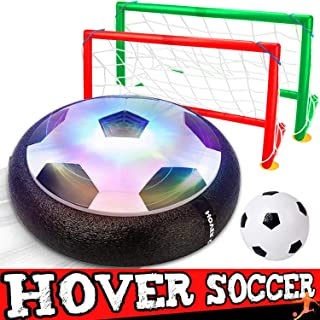 Kids Toys Hover Soccer Ball Sport Toys Set 2 Goals Indoor Outdoor LED Air Power Soccer Indoor Outdoor Training Ball Playing Football Game Toys for 3 4 5 6 -12 Year Old Boys 2019 Prime Gift Birthday