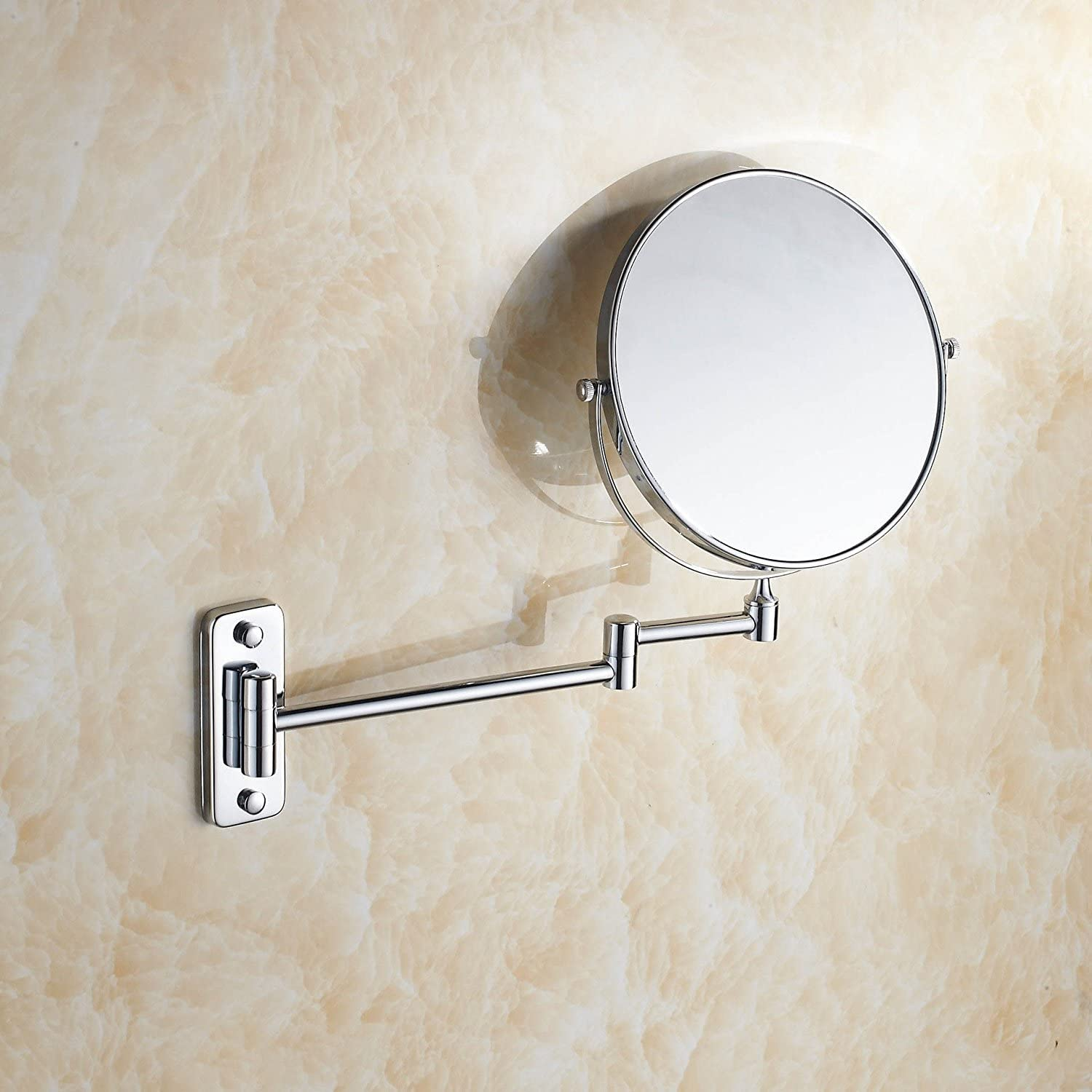 Stainless steel chrome-plated bathroom magnifying glass mirror bathroom mirror wall mount makeup mirror 8-inch