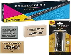 Box of 12, Prismacolor Ebony 14420 Drawing Pencils, 1 Prismacolor Premier Sharpener, 1 Large Kneaded Eraser, 1 Artgum Eraser & 1 Magic Rub Eraser