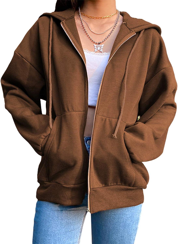 Women Casual Long Sleeve Zip Up Sweatshirts Y2K Oversized Streetwear Jacket Hoodies with Pockets