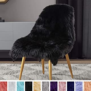 LOCHAS Silky Soft Faux Fur Rug Sheepskin Throw Chair Sofa Cover for Bedroom 2'x3', Fluffy Bedside Area Rugs Floor Carpet, Machine Washable, Black