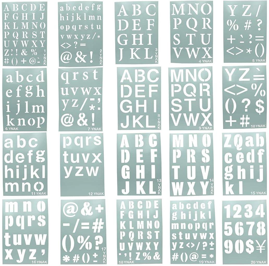 ピルファー教師の日カヌーYNAK ステンシルシート アルファベット 大 数字 均等 テンプレート ステンシルプレート 型 メッセージ ジャーナルカード DIY 制作 (26cm×18cm) 20枚 セット