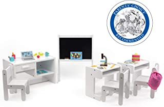 Sponsored Ad - Playtime by Eimmie Classroom Set - Includes 3 Desks and 25 School Accessories for 18 Inch Dolls - Doll Furn...