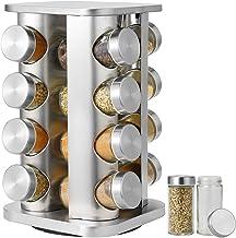 رف للتوابل، برج توابل دوار على سطح المناضد، منظم توابل من الفولاذ المقاوم للصدأ، منظم تخزين التوابل مع 16 برطمانات توابل ز...