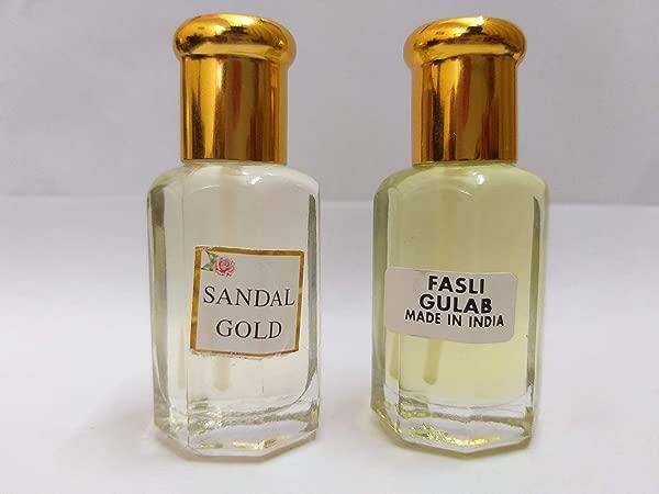 Dimraj Creations Sandal Chandan And Rose Gulab Fasli Attar Ittar Concentrated Perfume Oil 10 10 Ml Sandal Aroma With Rose Fragrance