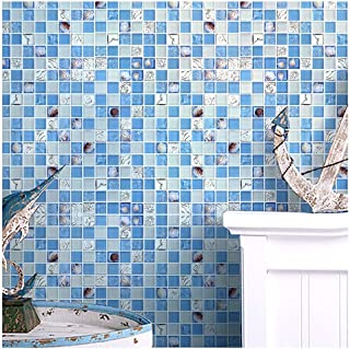 ZHANWEI 3D Wall Panels Wallpaper Shell Crystal Glass Mosaic Swimming Pool Ceramic Tile Background Wall, 2 Colors (Color : Blue, Size : 5 PCS)