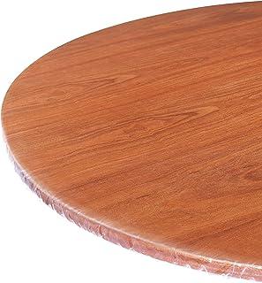 WINOMO 1 nappe ronde en PVC transparent pour table de 36 à 44 pouces de diamètre - Extra transparent - En plastique découp...