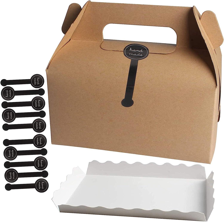 Tomedeks Cajas Para Pasteles De Carton 10 Piezas Con Compartimento De Papel Y Adhesivo De Sellado Para Galletas, Cajas Para Pasteles, Cajas Para Galletas (papel Kraft)