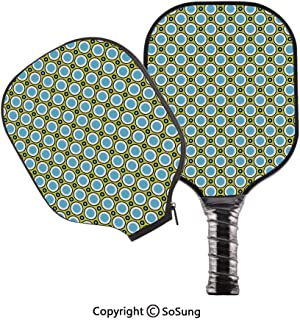3D Print Graphite Pickleball Paddle Set,Retro Circles with Dots Round Design Elements Vintage Inspirations Pop Carbon Fiber Large Lightweight Top Professional Power Outdoor Rackets for Mens Women Kids