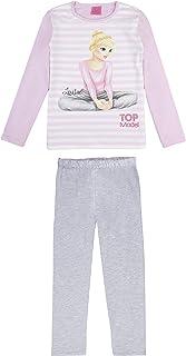 Top Model Niña Pijama, Ropa de Noche, en Dos Partes: T-Shirt/Manga Larga y Pantalones, Rosa