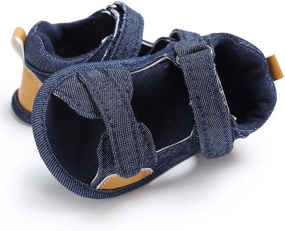 LINKEY Baby Boys Summer Breathable Denim Open-Toe Beach Walking Two-Strap Sandals