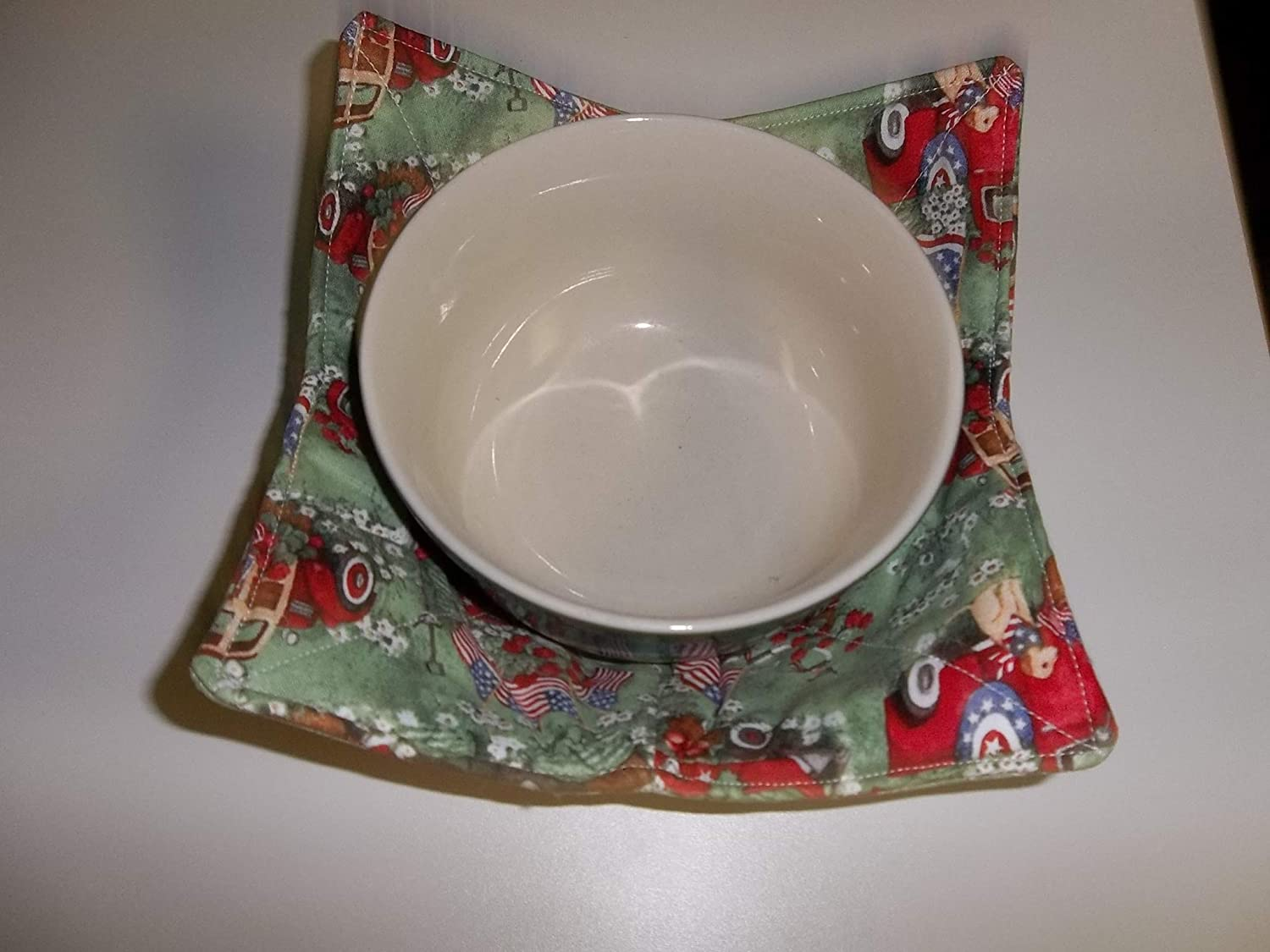 Microwave Bowl Raleigh Mall Cozy Cozies Patriotic Max 84% OFF Red 10 Inches Truck