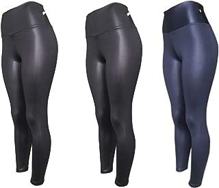 Kit 3 Legging Cirre Cintura Alta Brilho Molhado Imita Couro Lycra