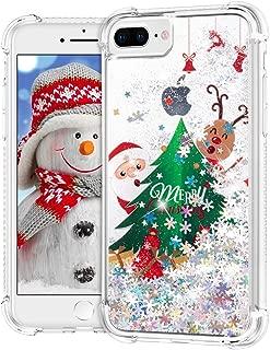 Ruky Christmas Case for iPhone 6 Plus 6s Plus 7 Plus 8 Plus, Glitter Liquid Flowing Bling Merry Christmas Pattern Design Soft TPU Fashion Cute Women Girls Children Case, Christmas Tree