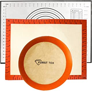 Pack of 3 Silicon Baking Mat Combo by Furst Tek| Non Stick Bakery Sheet | Kneading Mat for Dough Rolling | Kitchen Set for...