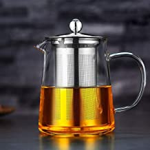 32OZ Clear teapot with Heat Resistant Stainless Steel Infuser, Stovetop Kettle, Glass Tea Kettle with Handle for Blooming tea Leaf. Glass Teapot with Infuser for Fruit Tea (950ML)
