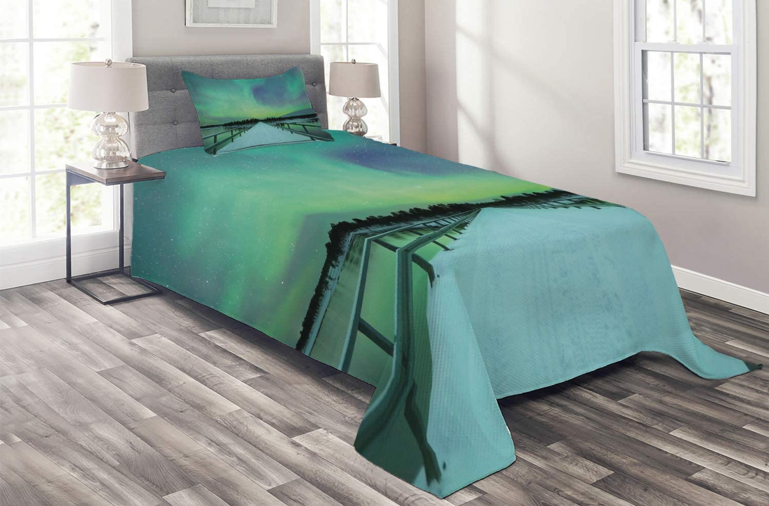 Ambesonne Limited Special Price Aurora Borealis Cheap bargain Coverlet Long Bridge Over Sky Mystic