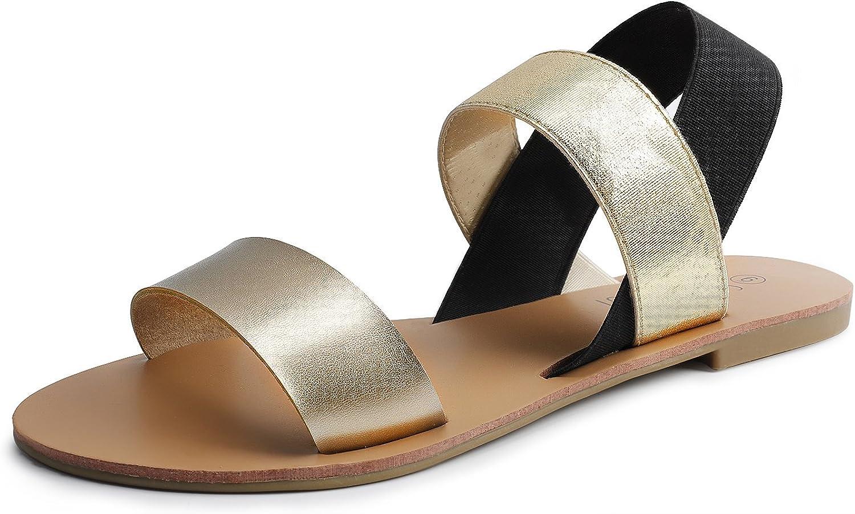 Sandalup Elastic Insert Slingback Flat Sandals for Women