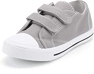 Kids Girl Sneakers, Low Top Toddler Canvas Shoes with Dual Hook and Loops