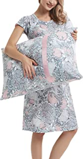 GINKANA Maternity Labor Delivery Gown Hospital Nightgown Nursing Nightdress with Matching Pillowcase