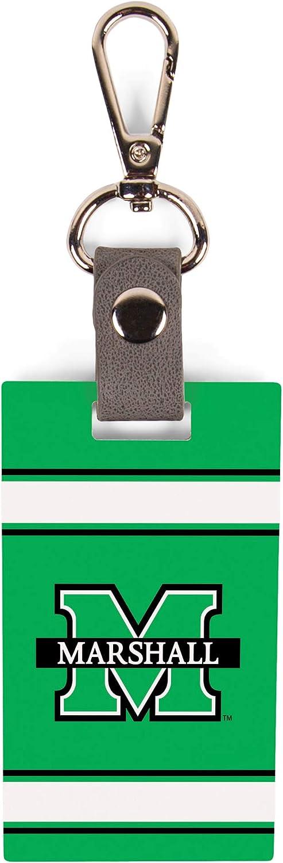 Marshall University Collegiate Logo 3.5 x 2 MDF Wood and Metal Key Chain Bag Tag