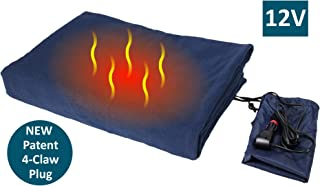 "ObboMed-Sh-4210N Deluxe Electric 12V 60W Luxurious Comfy Polar Fleece Heated Travel Car Blanket, With Premium Cigarette Lighter Plug For Automobile, Vehicle, Size 61"" X 41.3"""
