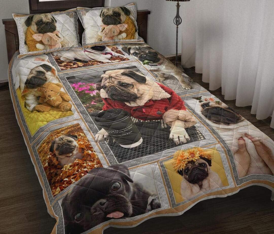 Personalized Pug Quilt Sets Soft Comfortable for Outlet sale feature Kids Pare Under blast sales
