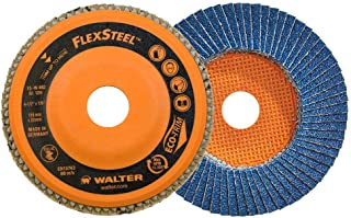 Walter 15W462 FLEXSTEEL Flap Disc [Pack of 10] - 120 Grit, 4-1/2 in. Grinding Disc for Angle Grinders. Abrasive Grinding Supplies