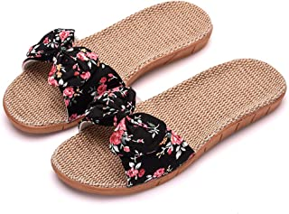 XINHAX Women Indoor Slippers, Summer Flax House Slippers Open-Toe Casual Sandals Shoes with Anti-Skid Sole