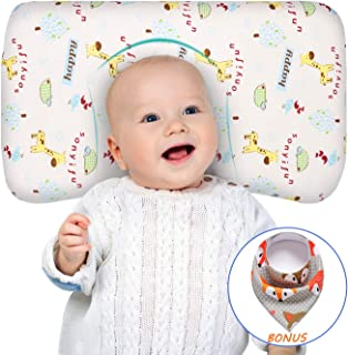 Baby Pillow for Sleeping Memory Foam Unisex Infant Pillow Baby Head Shaping Prevent Flat Head Syndrome Breathable Washable 100% Organic Cotton Cover Newborn Gift for Baby Girls Boys with Baby Bib