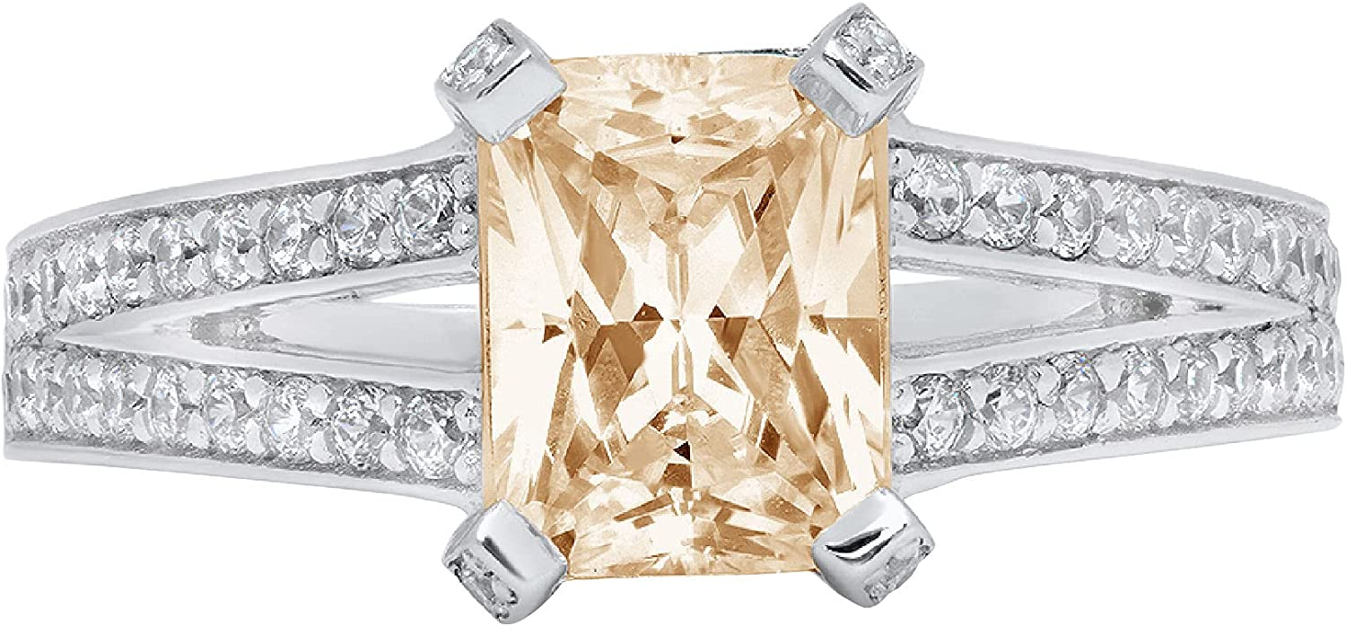 2.75 ct Emerald Cut Solitaire with Spring new work one after another split Stunning Popular products G Accent shank