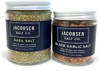 Jacobsen Salt Basil Salt | Black Garlic Salt 2 Piece Bundle