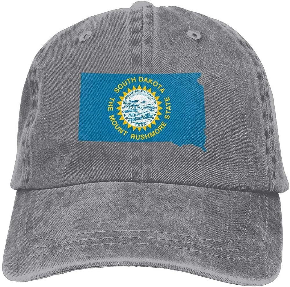 Flag Map of South Dakota Unisex Truck Baseball Cap Adjustable Hat Military Caps