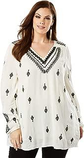 Roamans Women's Plus Size Embroidered Trapeze Maxi Tunic