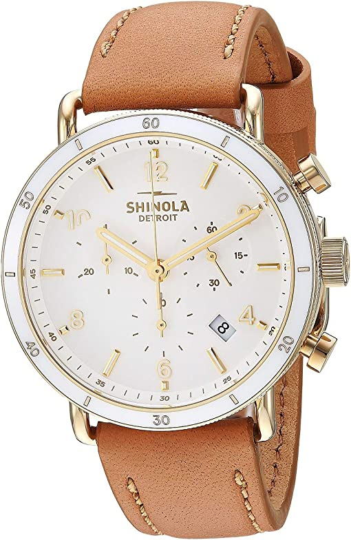 Camel Leather Strap/Soft White Dial