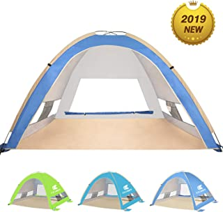 KEUMER Venustas Large Pop Up Beach Tent Automatic Sun Shelter Cabana Easy Set Up Light Weight Camping Fishing Tents 4 Person Anti-UV Portable Sunshade for Family Adults