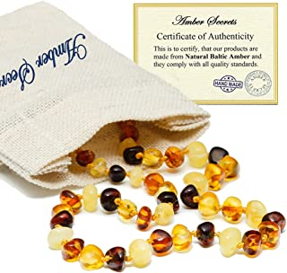Baltic Amber Teething Necklace For Babies (Unisex) - Multi Color - Natural Certificated Oval Baltic Jewelry with the Highest Quality Guaranteed - Easy to Fastens, Screw Clasp - Packed in Linen Bag