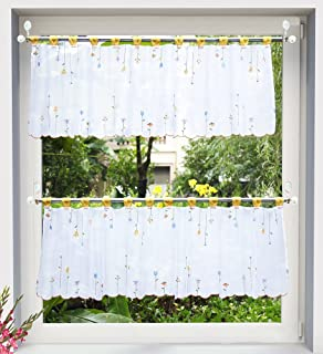 LivebyCare Embroidery Window Curtain Tier and Valance Sheer Tap Top Roman Shade Window Treatment Voile Drape Drapery Panels for Meeting Room Club Bar