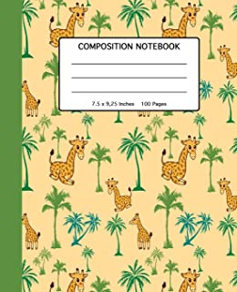 """Composition Notebook: Cute Giraffe Gift: Giraffes in The Desert - School, High School and College Composition Book for Kids Teenagers or Adults - 100 ... Softcover with Giraffe Pattern -  7.5 x 9.25"""""""