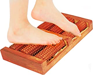 Wooden Acupressure Dual Foot Massager Roller For Tired Feet Relieves Plantar Fasciitis Foot Aches Soreness Pain & Stress Relief Effective Blood Circulation Deep Tissue Muscle Therapy Reflexology