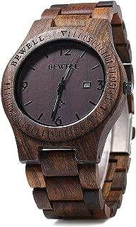 W086B Mens Wooden Watch Analog Quartz Handmade Lightweight Wood Wrist Watch