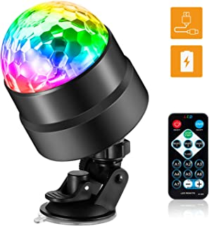 Sound Activated Party Lights with Remote Control DJ Lighting, Rechargeable Battery Powered/USB Portable RBG Disco Ball Light, Strobe Lamp,Automatic Flash 7 Modes Stage Par Light for Home Room Dance