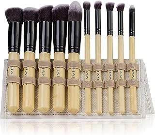 SHANY Mini Artisan's Easel Bamboo – Elite Cosmetics Brush Collection - Complete Kabuki Makeup Brush Set with Standing Convertible Brush Holder - 10 pcs