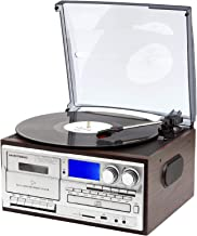 Musitrend Record Player 8 in 1 3 Speed Bluetooth Vintage Turntable CD Cassette Vinyl Player AM/FM Radio USB Recorder Aux-i...
