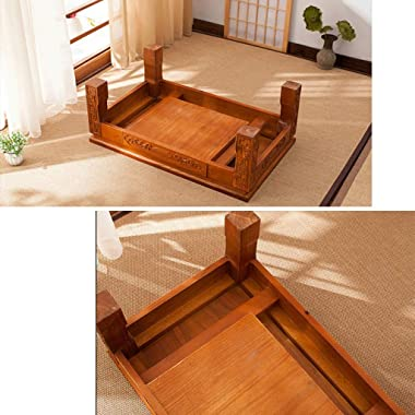 Table Tatami Solid Wood Coffee Table Bay Window Table Old elm Japanese Low Table Coffee Table Tables (Color : Brown, Size : 6