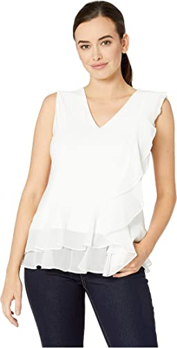 Asymmetrical Peplum Sleeveless Blouse
