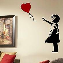 LaoGraphics® Banksy Meisje en Hart Ballon Muurstickers, Graffiti Vinyl Art Transfers, Street Art Interieur Decal Graphics,...