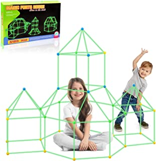 Fort Building Kit for Kids 150 Pieces Glow in The Dark Construction Forts Toys DIY Kids Fort Building Set Learning Toys Gi...
