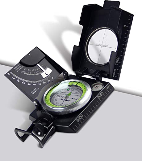 AOFAR Military Compass AF-4074 Black or Hiking,Lensatic Sighting Waterproof,Durable,Inclinometer for Camping,Boy Scount,Geology Activities Boating